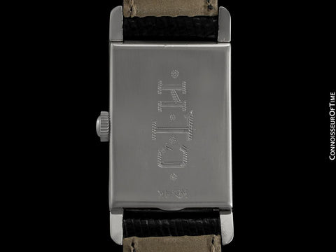 1949 Longines Vintage Mens Midsize Rectangular Watch - 14K White Gold & 17 Diamonds