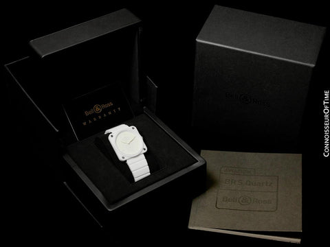 Bell & Ross BRS Phantom Ceramic White Ladies Large Aviator's Watch - BRS-98-PWC