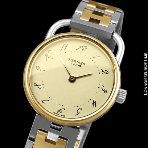Hermes Arceau Ladies Bracelet Watch - 18K Gold Plated & Stainless Steel