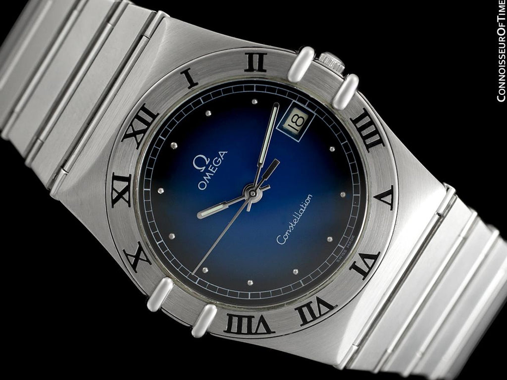 c3e492b64a5d9 Omega Constellation Mens 35mm Blue Vignette Dial Watch