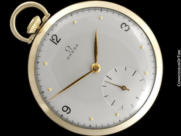 1944 Omega Vintage Antique Mens World War II Pocket Watch - 14K Gold