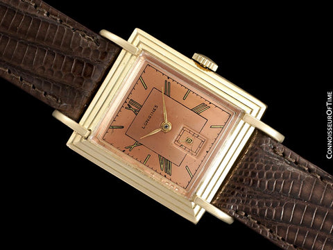 1942 Longines Vintage Mens Unisex Watch with Rare Scroll Lugs - 18K Gold