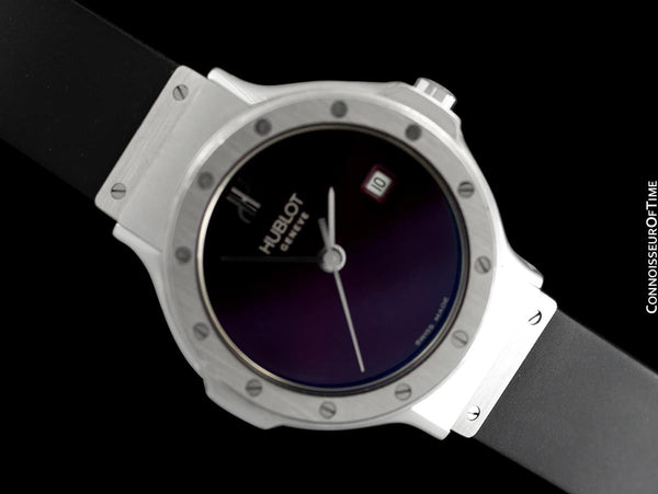Hublot MDM Ladies Rubber Bracelet Wine Dial Watch - Stainless Steel