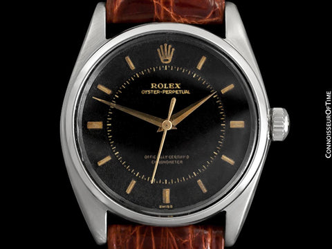 1959 Rolex Oyster Perpetual Uncommon Vintage Mens Ref. 5552 Watch with Tropical Dial - Stainless Steel