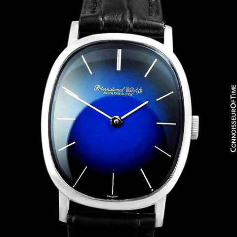 1974 IWC Vintage Mens Ellipse Blue Vignette Dial Watch, Caliber 403 - Stainless Steel