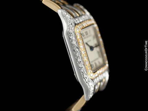 Cartier Panthere Ladies Two-Tone Watch - Stainless Steel, 18K Gold & Diamonds