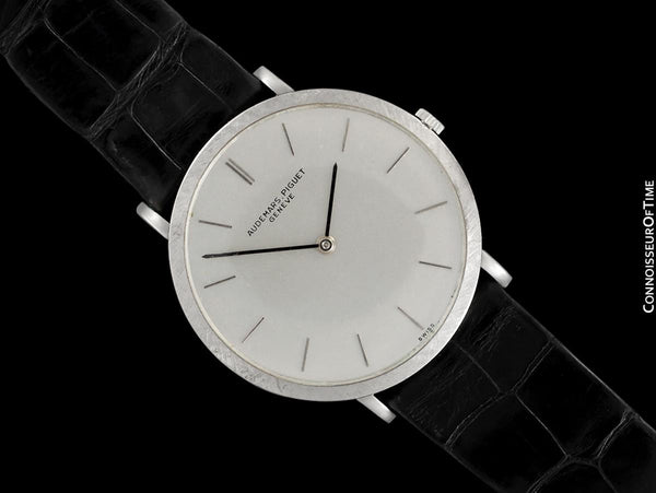1960's Audemars Piguet Vintage Mens Full Size Thin Dress Watch - 18K White Gold