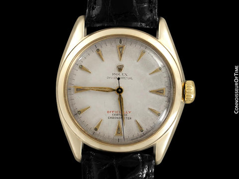 "1952 Rolex Oyster Perpetual Vintage Mens Rare ""Red Letter"" Ref. 6084 Watch - 14K Gold"