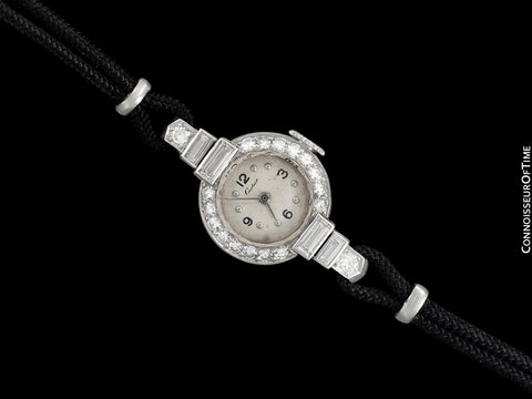 1930's Cartier Vintage Art Deco Ladies Watch with Original Cresarrow Case- Platinum & Diamonds