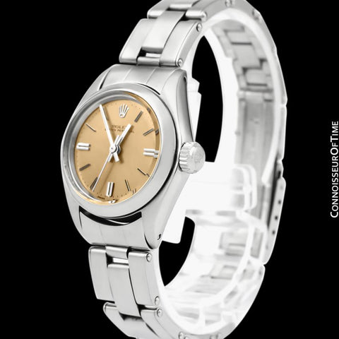 1976 Rolex Vintage Ladies Oyster Perpetual Ref. 6724 Copper Dial Watch - Stainless Steel