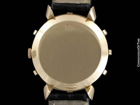 1951 Jaeger-LeCoultre Vintage Mens Watch, Rare Bradley II Model, 14K Gold - The Ships Wheel