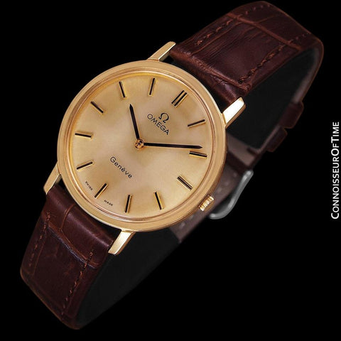 1975 Omega Geneve Vintage Mens Midsize Handwound Watch - 18K Gold Plated & Stainless Steel
