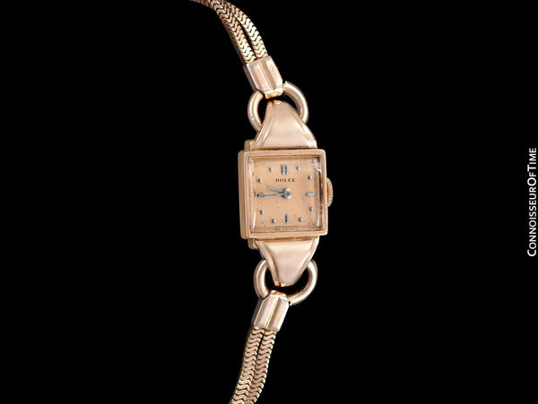 1940's Rolex Precision Vintage Pre-Cellini Ladies Watch, Ref. 5637 - 14K Rose Gold