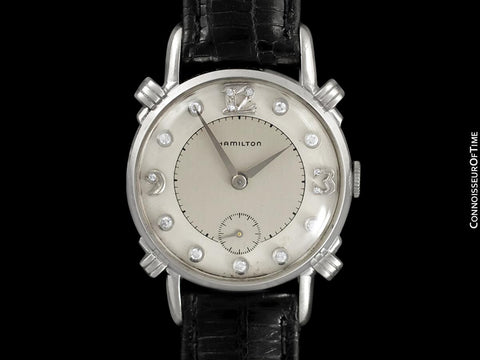 1940's Hamilton Vintage Mens Midsize Watch, Beautiful Case - 14K White Gold & Diamonds