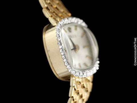 1980's Rolex Ladies Vintage Dress Watch - 14K Gold & Diamonds