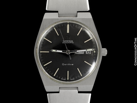 1974 Omega Geneve Vintage Mens Watch, Quick-Setting Day & Date - Stainless Steel
