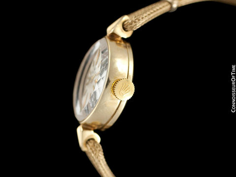 1960's Rolex Ladies Pre-Cellini Dress Watch, Silver Dial - 14K Gold