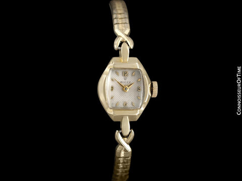 1950's Rolex Ladies Dress Watch, Silver Dial - 14K Gold