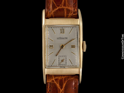 1943 Jaeger-LeCoultre Vintage Mens Midsize Rectangular Watch - 14K Gold