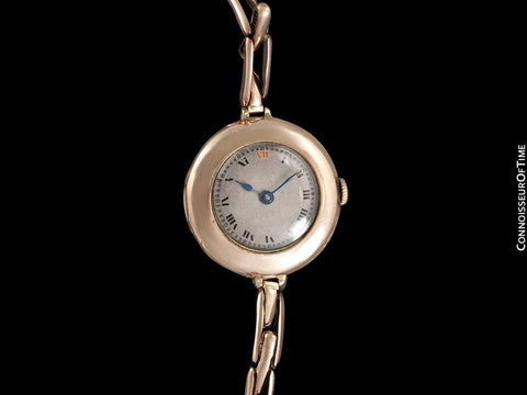1920's Rolex Ladies Vintage Art Deco Dial Watch with Bracelet - 9K Rose Gold