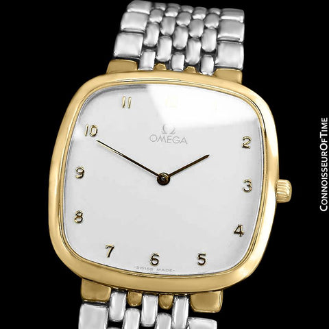 Omega De Ville Mens Unisex Two-Tone Ultra Thin Dress Watch with Bracelet - 18K Gold Plated & Stainless Steel