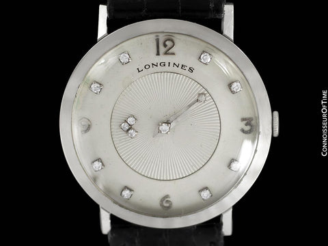 1958 Longines Mystery Dial Vintage Mens Watch - 14K White Gold & Diamonds