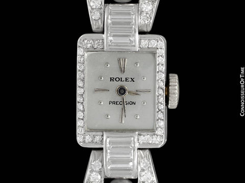 1940's Rolex Ladies Vintage Cocktail Watch - Platinum with 3 Carats of Diamonds