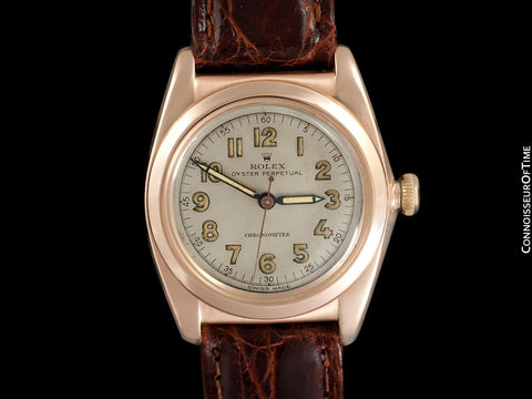 1946 Rolex Vintage Mens Oyster Perpetual Bubbleback Watch, Ref. 3131 - 14K Rose Gold