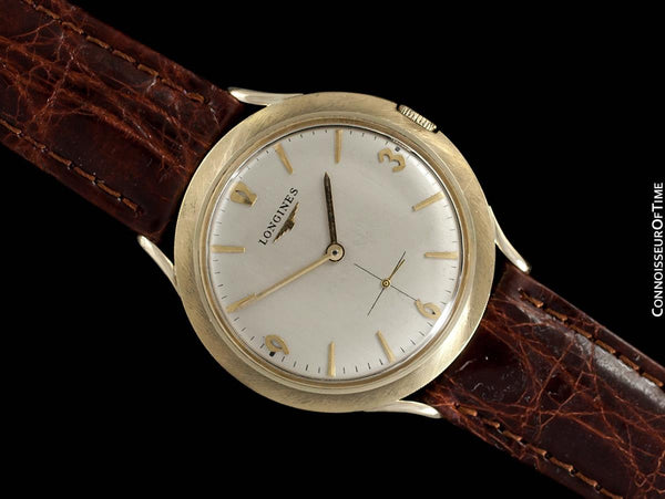 1963 Longines Vintage Mens Modernist Dress Watch - 14K Gold