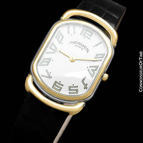 Hermes Midsize Arceau Mens Midsize Unisex Watch - 18K Gold Plated & Stainless Steel