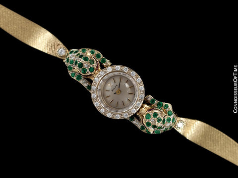 1960's Rolex Ladies Vintage Watch with Two Incredible Custom Panthers - 14K Gold, Diamonds, Emeralds & Rubies