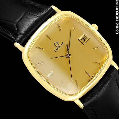 1989 Omega De Ville Mens Vintage Midsize Ultra Thin Cushion Watch - 18K Gold Plated and Stainless Steel