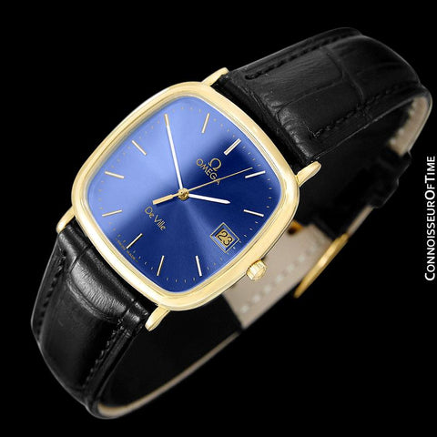1988 Omega De Ville Mens Vintage Midsize Ultra Thin Cushion Watch - 18K Gold Plated and Stainless Steel