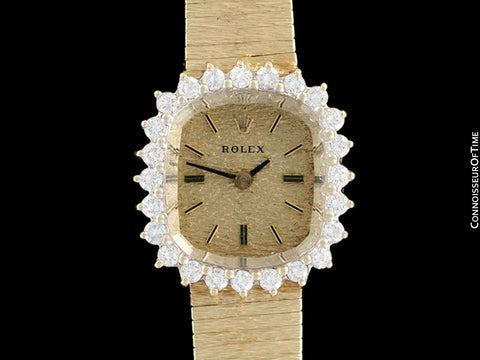 1990 Rolex Vintage Ladies Dress Bracelet Watch - 14K Gold & Diamonds