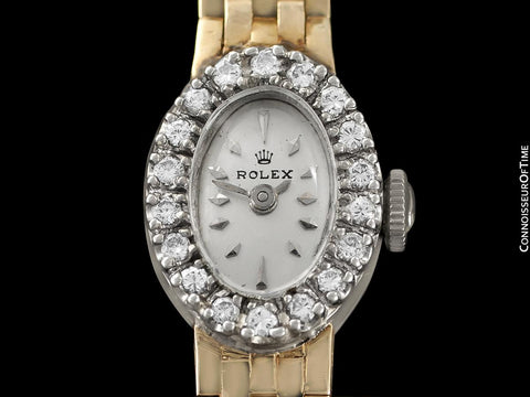 1970's Rolex Ladies Vintage Dress Bracelet Watch - 14K Yellow & White Gold & Diamonds