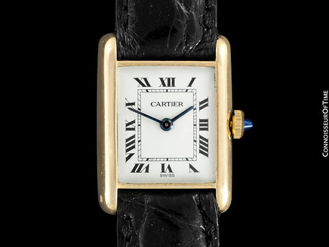 "1940's Cartier Vintage Ladies ""Collection Privee"" Level Special Tank Watch - Solid 18K Gold"