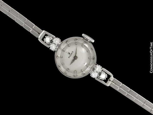 1960's Rolex Ladies Dress Watch with Bracelet, Silver Dial - 14K White Gold & Diamonds