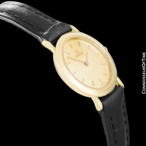 Omega De Ville Ladies Dress Quartz Watch - 18K Gold Plated & Stainless Steel