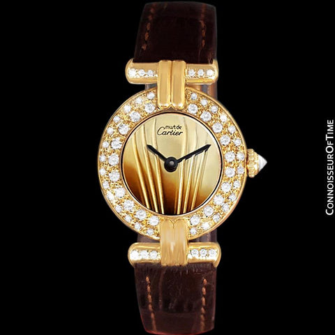 Cartier Colisee Ladies Vendome Vermeil Watch - 18K Gold over Sterling Silver with Diamonds