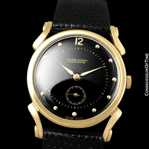 1950's Ulysse Nardin Vintage Chronometer Mens Midsize Dress Watch, Beautiful Case - 18K Gold Plated
