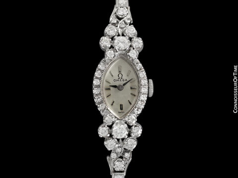 1960's Vintage Ladies Watch with Omega Movement - 14K White Gold with 3 Carats of Diamonds