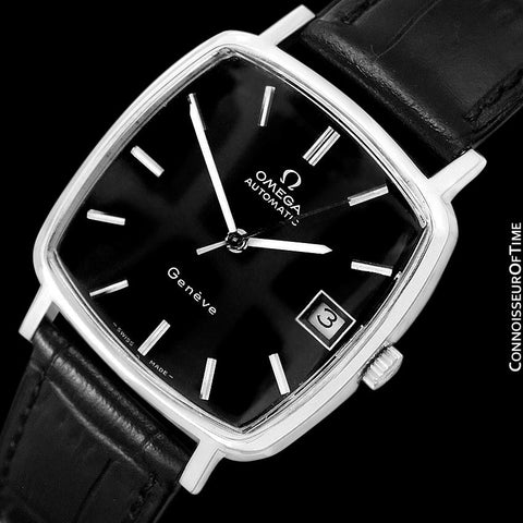 1975 Omega Geneve Vintage Mens Midsize Automatic Watch with Quick-Setting Date - Stainless Steel