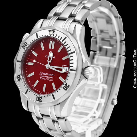 Omega Seamaster Midsize 300M Red Professional Divers Stainless Steel 2562.60 Watch - Rare Marui Special Edition