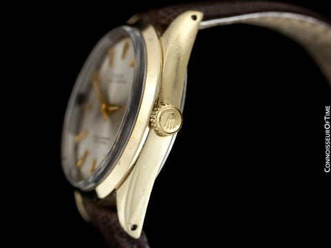 1964 Rolex Oyster Perpetual Vintage Mens Gold Shell Watch with Rare Underline Dial - 14K Gold & Stainless Steel - Papers