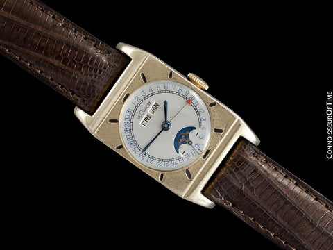 1949 LeCoultre Vintage Mens Triple Date Moon Phase Calendar Watch - 10K Gold Filled