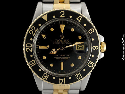 1979 Rolex GMT Master Vintage Mens Ref. 1675/3 Black Bezel Watch with Nipple Dial - 14K Gold & Stainless Steel