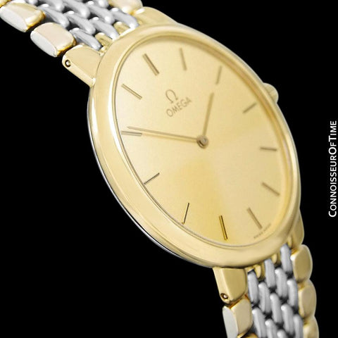 Omega De Ville Mens Two-Tone Ultra Thin Dress Watch with Bracelet - 18K Gold Plated & Stainless Steel