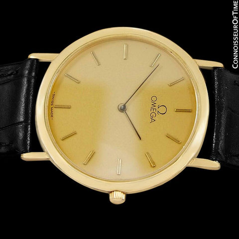 Omega De Ville Mens Midsize Ultra Thin Dress Watch - 18K Gold Plated & Stainless Steel