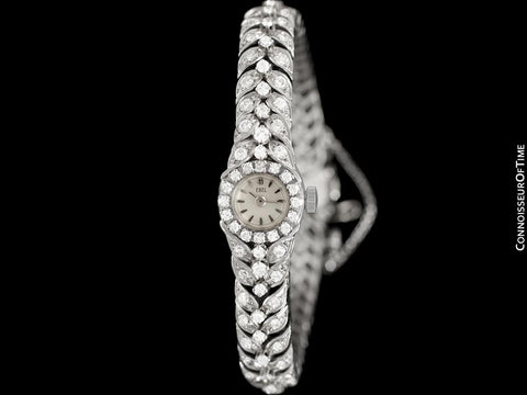 1950's Ebel Vintage Ladies 3.5 Carat Cocktail Watch - 18K White Gold & Diamonds