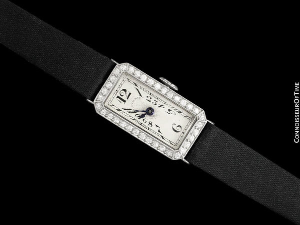 1920 Patek Philippe Tiffany & Co. Vintage Art Nouveau Ladies Watch - Platinum & Diamonds
